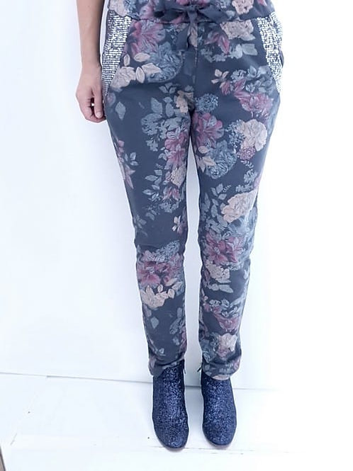 Helga May Bouquet Sequin Pocket Charcoal  Joggers - Charcoal