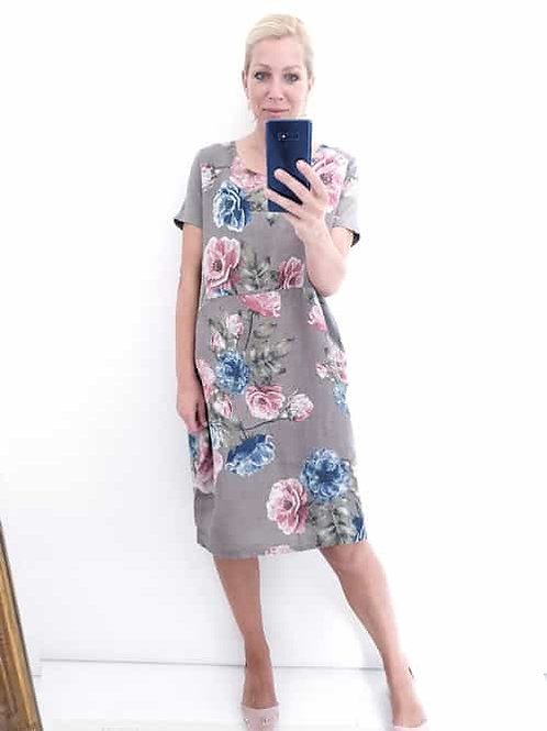 Helga May Jungle Dress Mocha Big Blossom