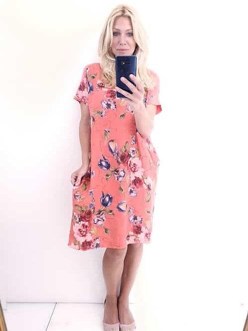 Helga May Jungle Dress - Hot Coral