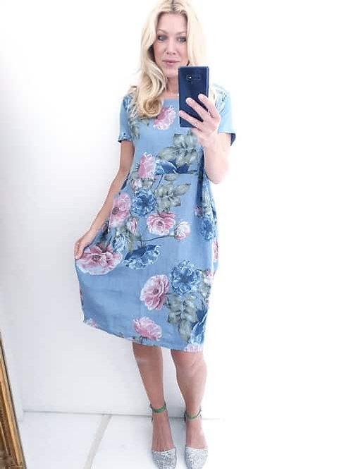 Helga May Big Blossom Jungle Dress - Petrol