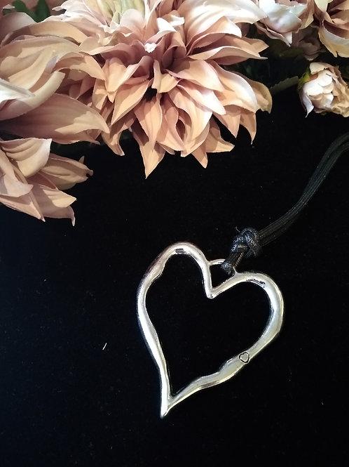 Large Open Heart Silver Toned Pendant