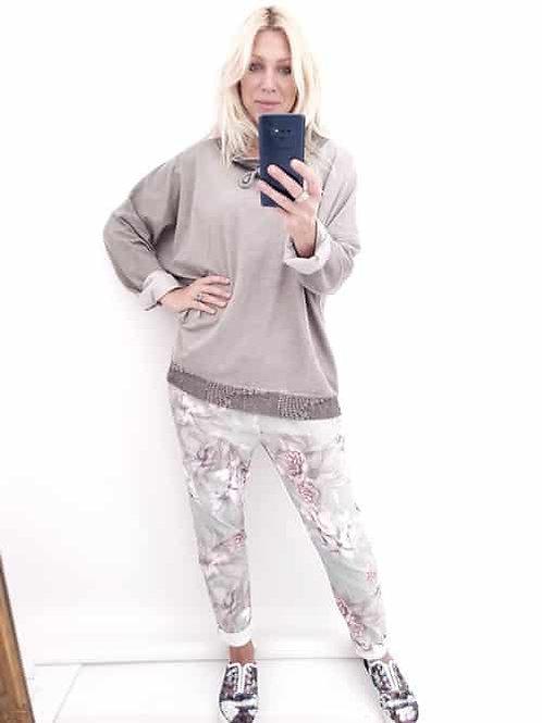 Helga May Plain Mocha Sweatshirt Lace collar