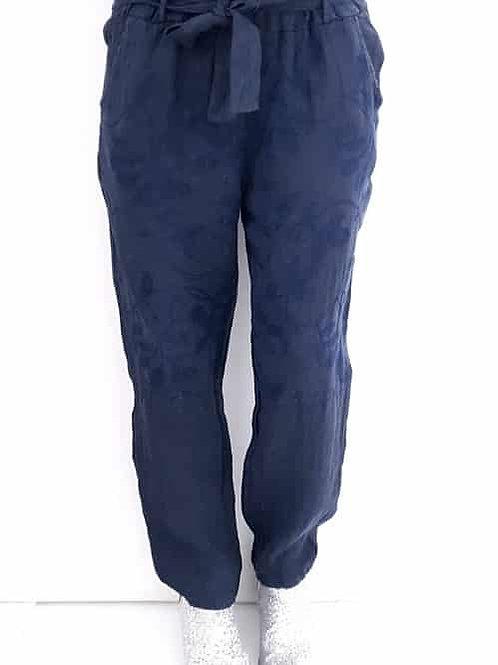 Helga May Linen Pommac Pants - Navy