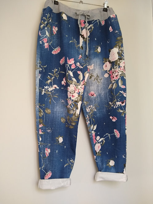 Joggers.. plus sizes...Floral Faded Demin