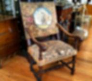 18th century armchair needlepoint peacock