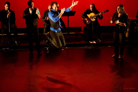 Norberto Chamizo Garrido flying high during last night's performance of Flamenco Men 2 at GALA theatre in DC. — with Hector Jose Marquez, Edwin Aparicio, Curro Cueto, Norberto Chamizo Garrido, Ricardo Marlow and Domingo Ortega at GALA Hispanic Theatre. 2015