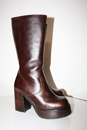 90s brown leather  platform boots