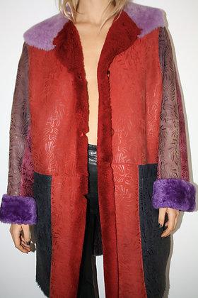 NINA RICCI multicolor shearling coat