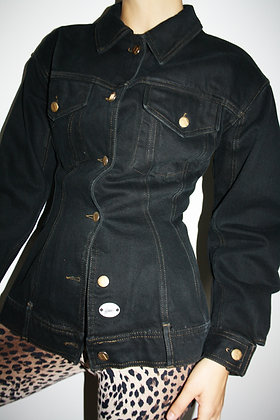 GAULTIER JUNIOR 1990's denim waisted black jacket
