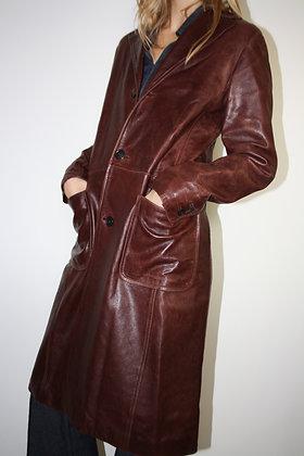APC burgundy leather coat
