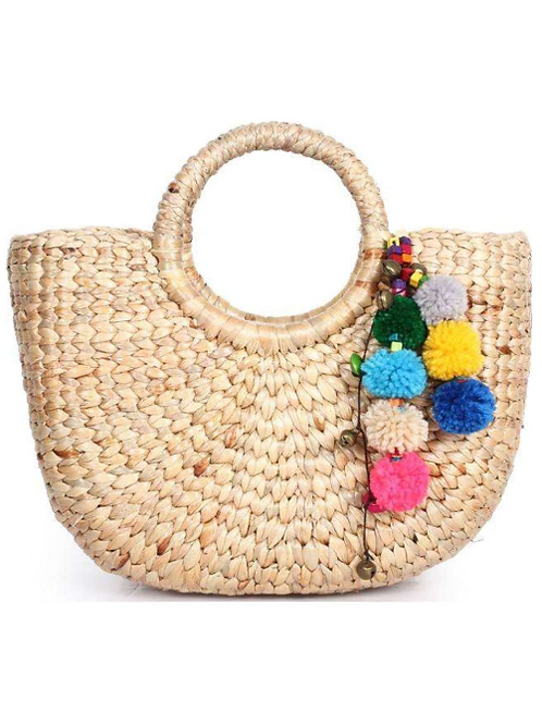 Small Woven Tote with Large Pompoms