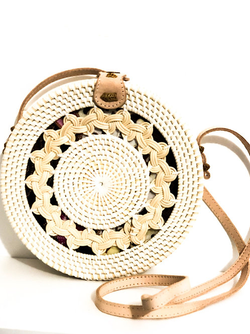 White Detailed Rattan Round Bag