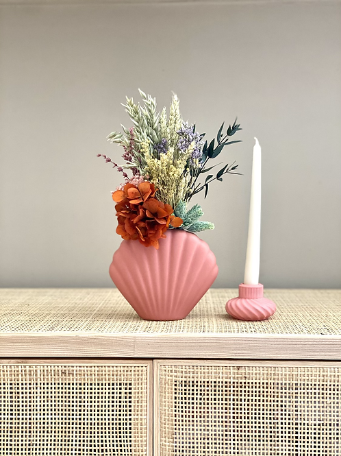 Jarrón Concha Bell rosa Coral