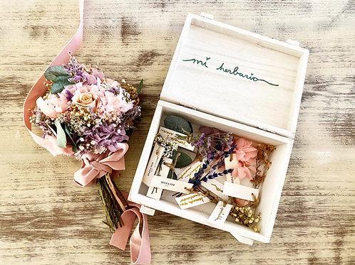 Herbario de flores caja blanca