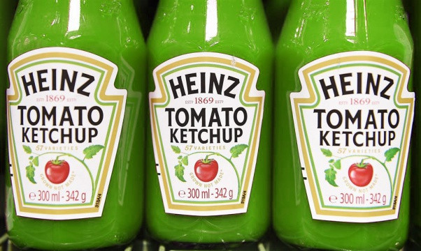 green packaging of Heinz's tomato ketchup that show how colours influence consumers on shop shelves