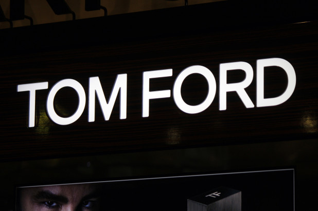 Tom Ford's logo featuring black and white colours like so many other luxury brand identities