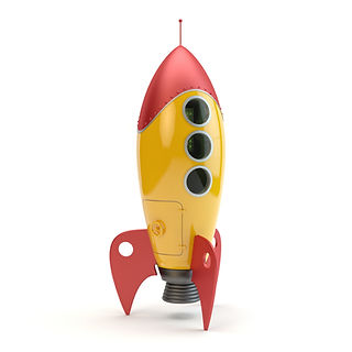 a retro toy rocketship