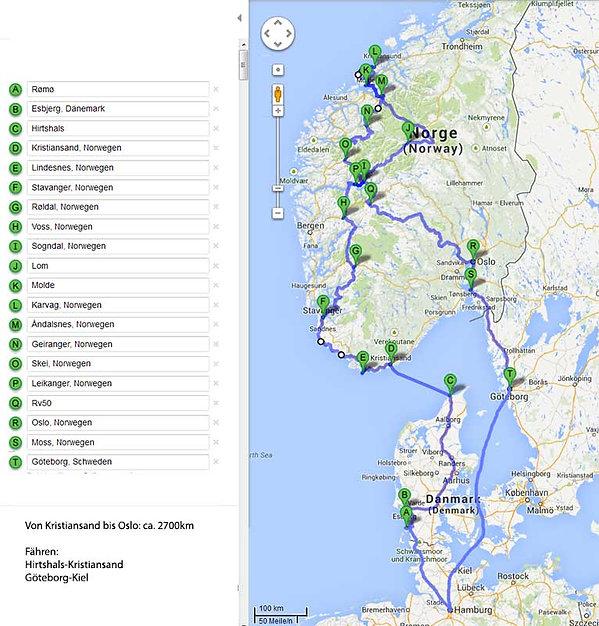 Wohnmobil Urlaub in Norwegen, die Route