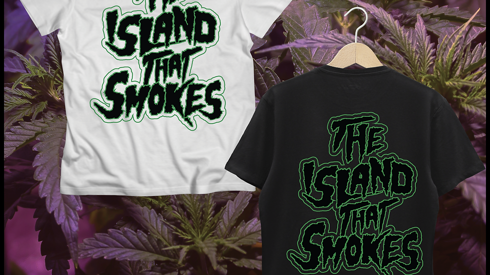 Teneweedfe T-Shirt -The Island That Smokes (Green and Black Text)