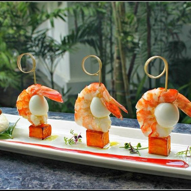 Quail egg prawn