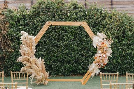 Wooden Flower Hexagon Arch