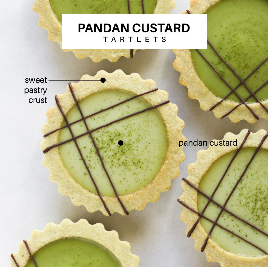 Mini pandan custard tartlet