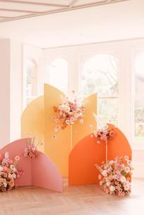 Color Block Backdrop with Flower Arrangement