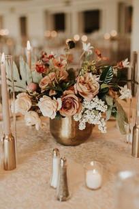Flower Centerpiece with Gold Vase