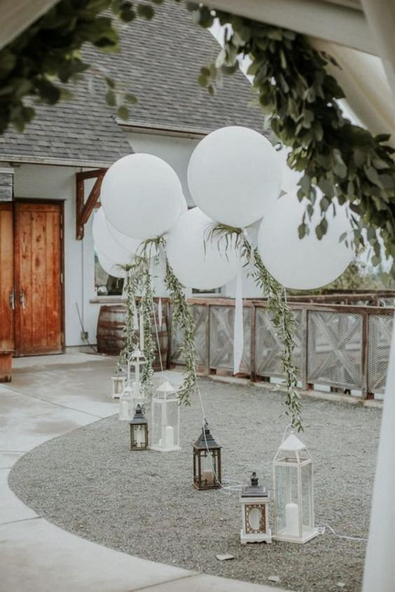 Helium Balloons with Greenery Garland
