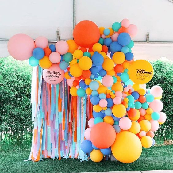 Paper Draping Backdrop with Balloon Garland