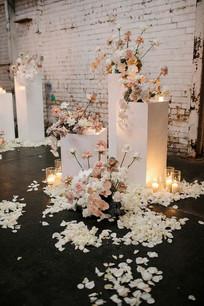 Flower Centerpiece on White Pedestal