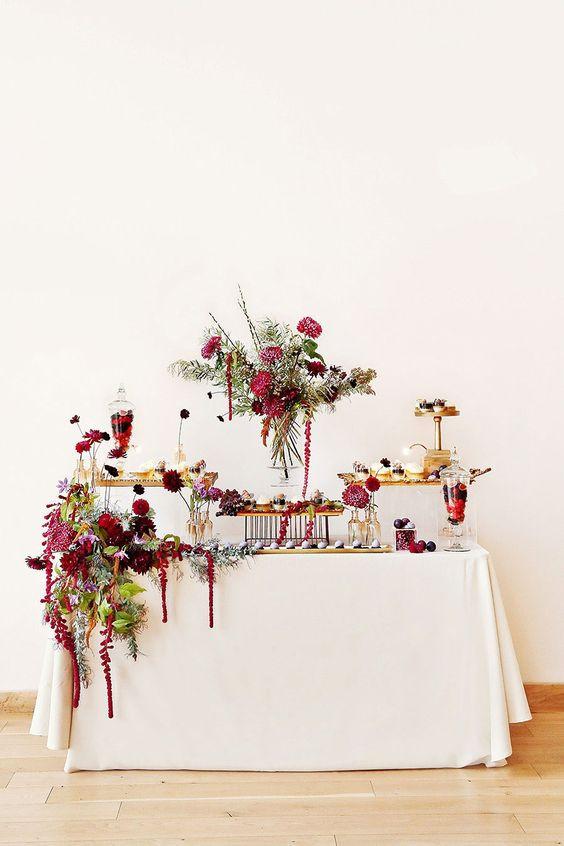 Plain Table Cloth with Flower Arrangement