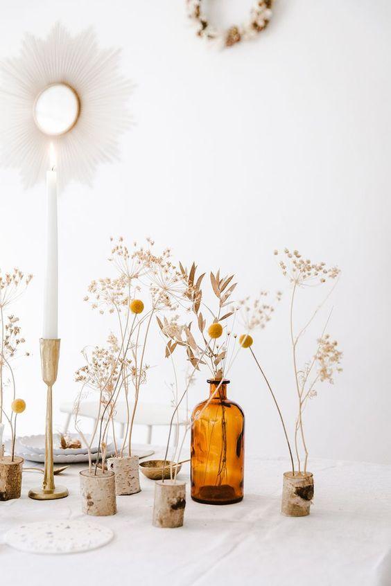 Flower Stalk on Bottles & Wood Stump