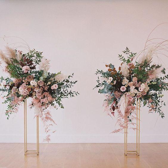 Flower Centerpieces on Gold Pedestal