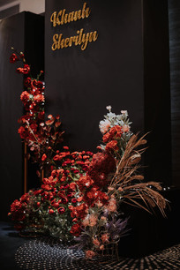 Printed Backdrop with Flower Arrangement