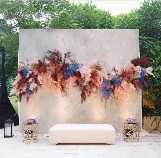 Printed Backdrop with Flower Garland