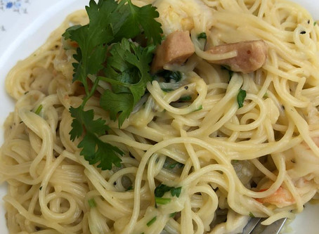 How To Make Low Fat Grilled Prawn Spaghetti in Golden Pumpkin Sauce