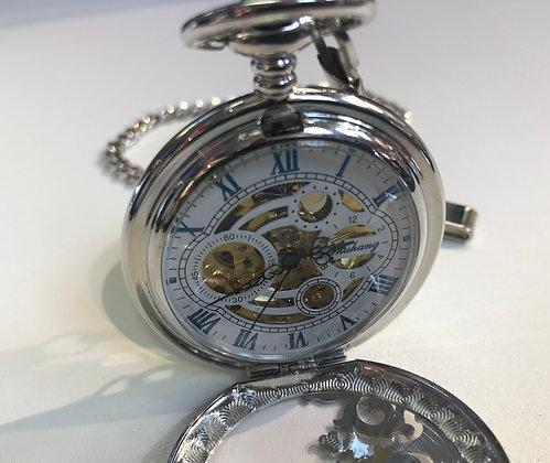 Antique Brone Dragon Mechanical Skeleton Pocket Watch