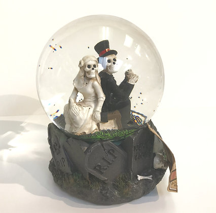 Skeleton Bride & Groom Snow globe collectible
