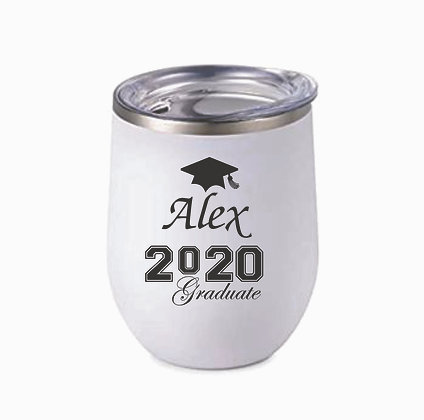 Custom Stainless Steel Stemless Wine Mug White