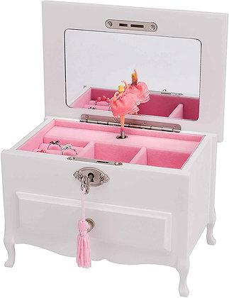 Ballerina Jewelry Music Box with Lock and Drawer