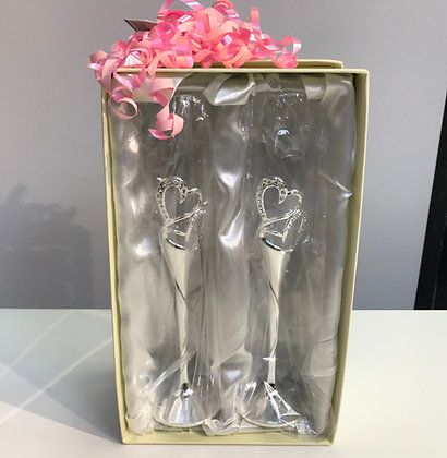 Luxurious Flute Glasses for Bride & Groom heart silver