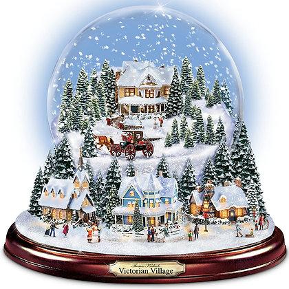 Thomas Kinkade Christmas Village Globe Snow