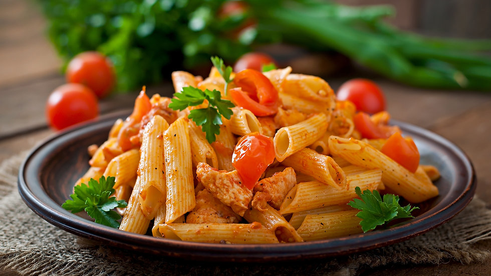 CHICKEN PENNE IN TOMATO BASIL SAUCE