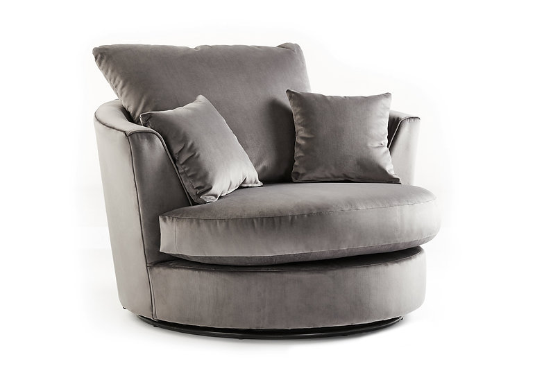 Chicago LuxVelvet swivel chair and footstoll
