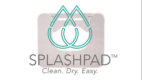 See Splashpad mats in action. Baby in sink taking bath with SPLASHPAD countertop mat.