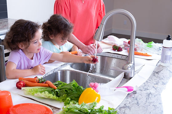 Washing and drying food and dishes using countertop protector mat and drying mat