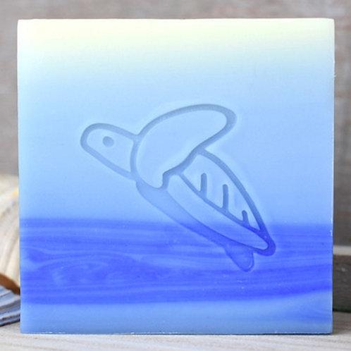 """Turtle Upwards Fin Soap Stamp - footprint 1.45"""" x 0.87"""" (37mm x 22mm)"""
