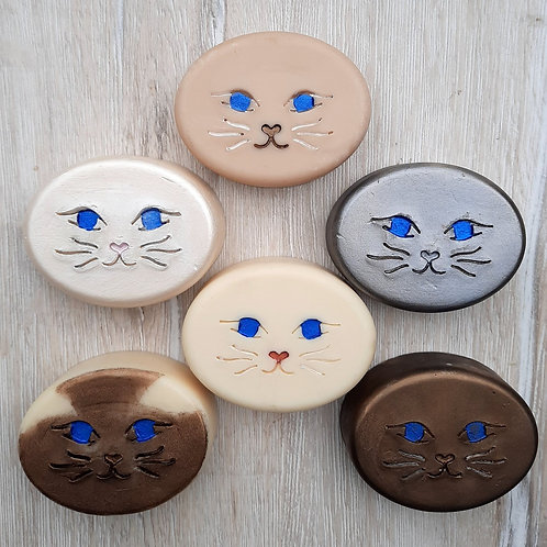 "Cat Face Soap Stamp - footprint: 1.89"" x 0.9"" (48mm x 23mm)"