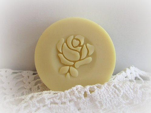 "3D Rose with stem Soap Stamp - 1.57"" (40mm) diameter"